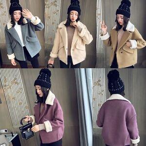 Women-Loose-Winter-Warm-Woolen-Short-Jacket-Coat-Lamb-Wool-Lapel-Casual-Outwear