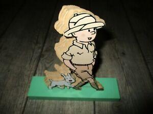 Détails sur Tintin Silhouette 3D Tintin&Milou Congo Etiquette Trousselier okBois (Années 80)