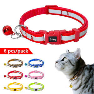 6-12-18pcs-Reflective-Small-Dog-Cat-Collar-with-Bell-Soft-for-Puppy-Kitty-Kitten