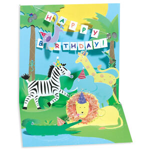 Image Is Loading Jungle Pop Up Birthday Card Greeting By