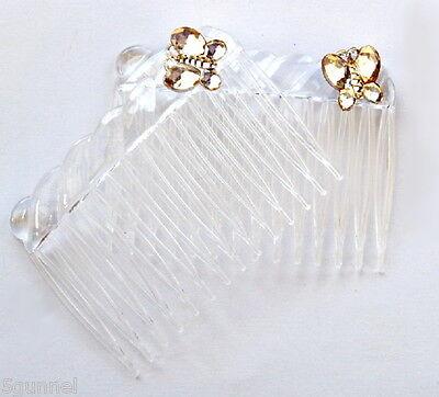 2X Haarschmuck Gold Damen Kristall Kamm Braut Haarschmuck Handgemachte Hochze 6A