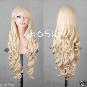 Lolita Women New Long Curly blonde Cosplay Party Hair Full Wigs + ... 1906a2b46e