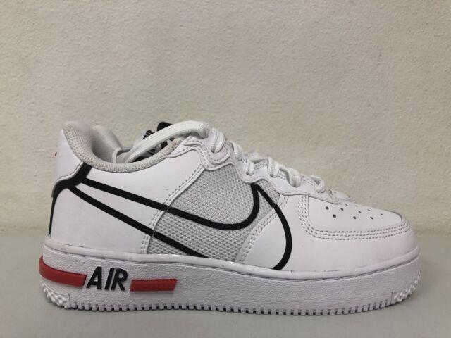 Nike Air Force 1 React GS White Black University Red Cd6960-100 ...