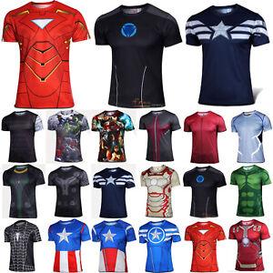Men Marvel Avengers Super Hero T Shirt Compression Base Layer