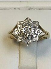 Lovely 9 Carat Yellow Gold FANCY 9 DIAMOND DAISY Ring