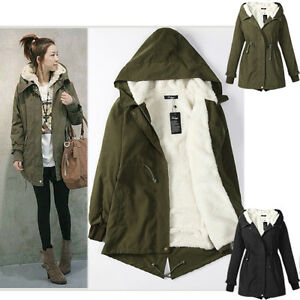 LADIES HOODED PARKA FLEECE TOP SIZE S-XXXXL WINTER WARM WOMENS ...