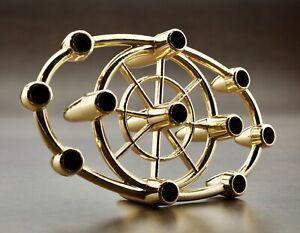 Vintage-Mini-Taper-Metal-Candle-Holder-Danish-Mid-Century-Modern-Gold-Tone