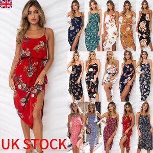 75a0b6cb9c33 UK Womens Holiday Strappy Midi Dress Chiffon Summer Beach Side Split ...