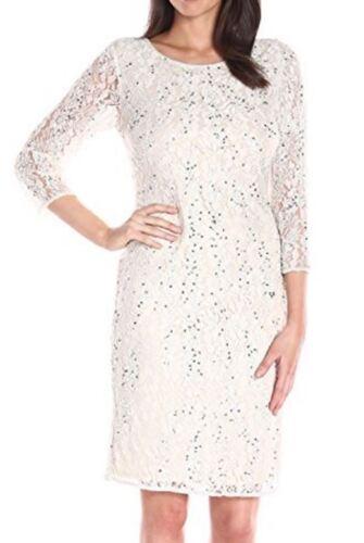 $188 Prelude Pisarro Nights Ivory Short Beaded Formal Stretch Sheath Dress