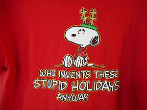image is loading peanuts snoopy christmas t shirt stupid holidays large - Snoopy Christmas Shirt