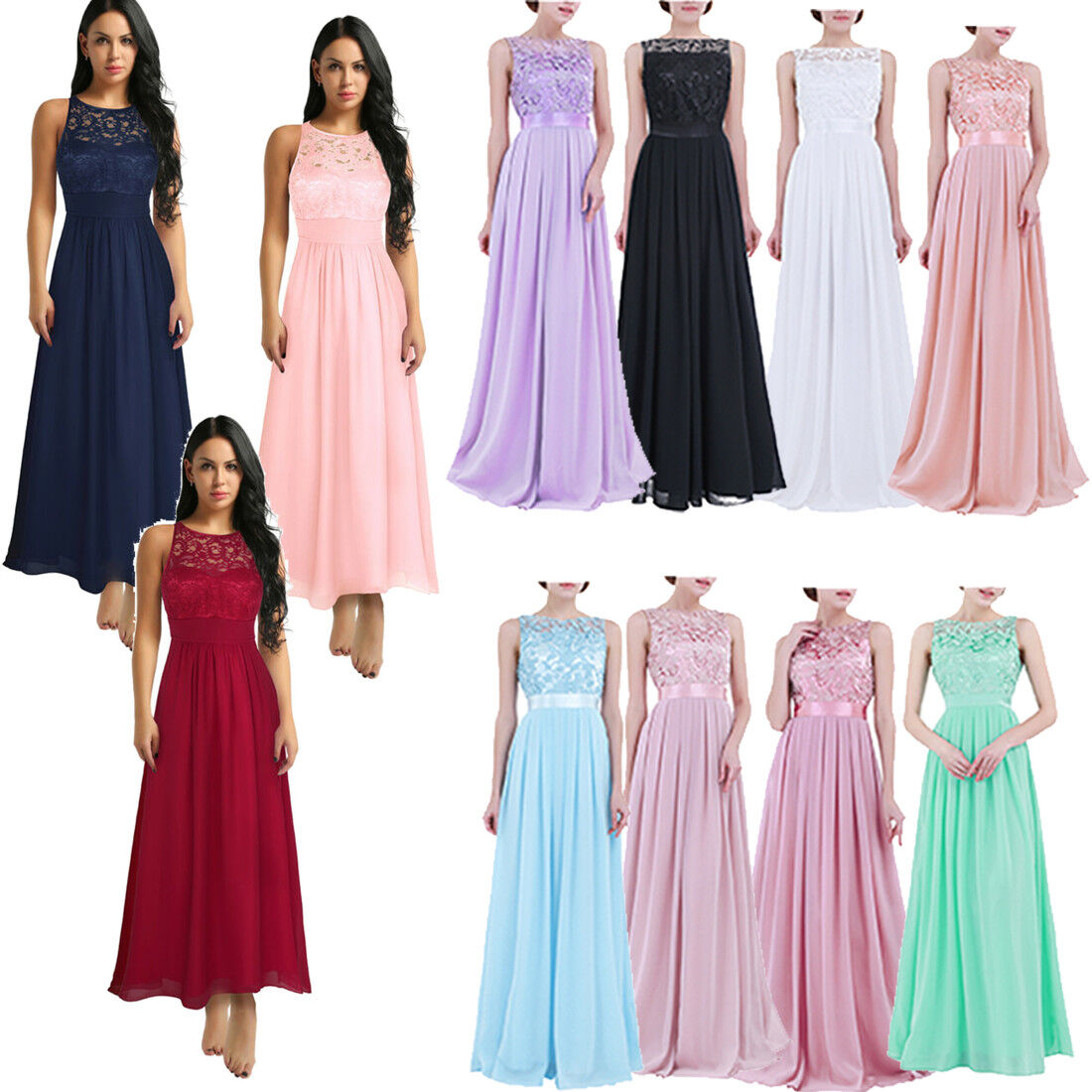 Women Formal Wedding Bridesmaid Evening Party Ball Long Lace Gown Cocktail Dress