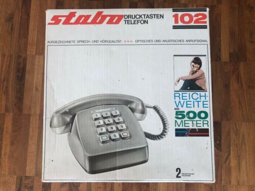 Stabo 102 Drucktasten Telefon Haustelefon Set 2 Telefone Batteriebetrieb OVP