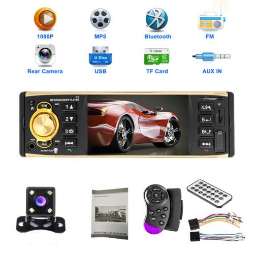 "4/"" 1 Din Radio de coche Estéreo Pantalla Bluetooth USB SD Aux MP3 Player Cámara"