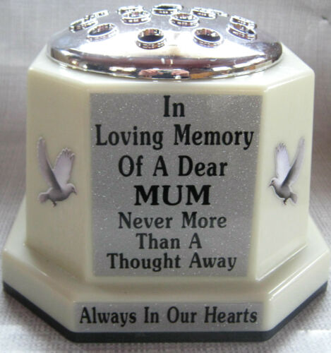 Uk Made Memorial Vase Mum Pot Grave Cemetery Silver White Doves