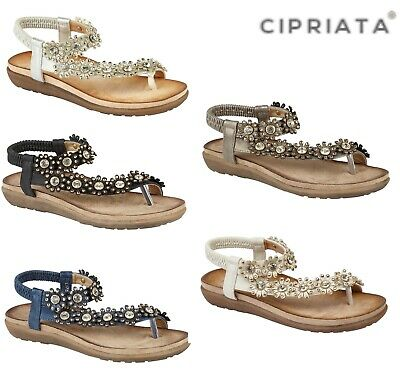Ladies Flower Padded Sandals - Silver Cream Grey Blue Black - Size 3 4 5 6 7 8 9 Lange Lebensdauer