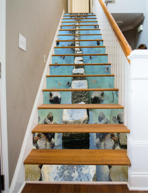 3D Stone Road Sea 537 Risers Decoration Photo Mural Vinyl Decal Wallpaper CA