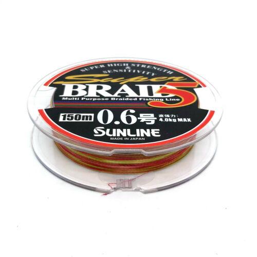 SUNLINE SUPER BRAID 5 PE Braided Fising Line Japan 150m #0.6 #0.8 #1 #1.2 #2 #3