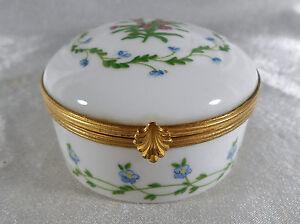 ( 02 ) Magnifique Boite Bijoux Floral En Porcelaine De Limoges MatéRiaux De Qualité SupéRieure