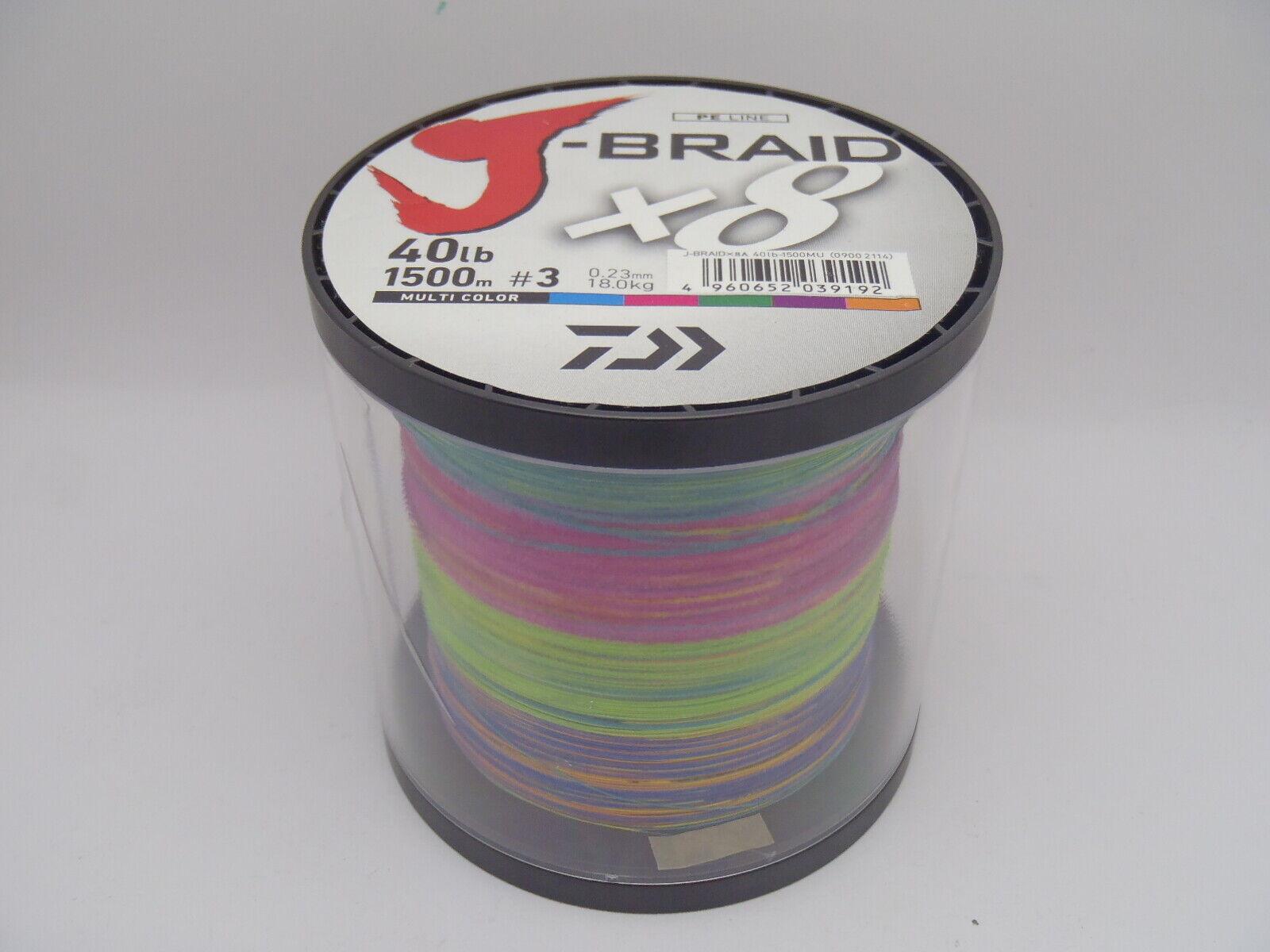Daiwa J-Braid 1500m 40lb 18.0kg 0.23mm Braided PE x8 Mulitcolour Fishing Line