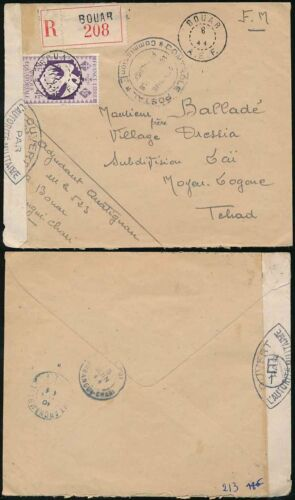 FRENCH AFRICA 1944 BOUAR AEF REGISTERED LIBRE 4F SOLO CENSORED to TCHAD
