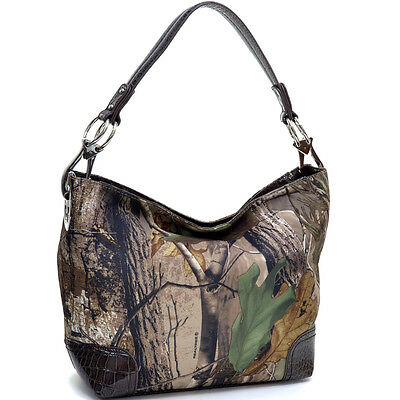 New Women Croco Realtree Camouflage Leather Tote Shoulder Bag Purse Hobo Handbag