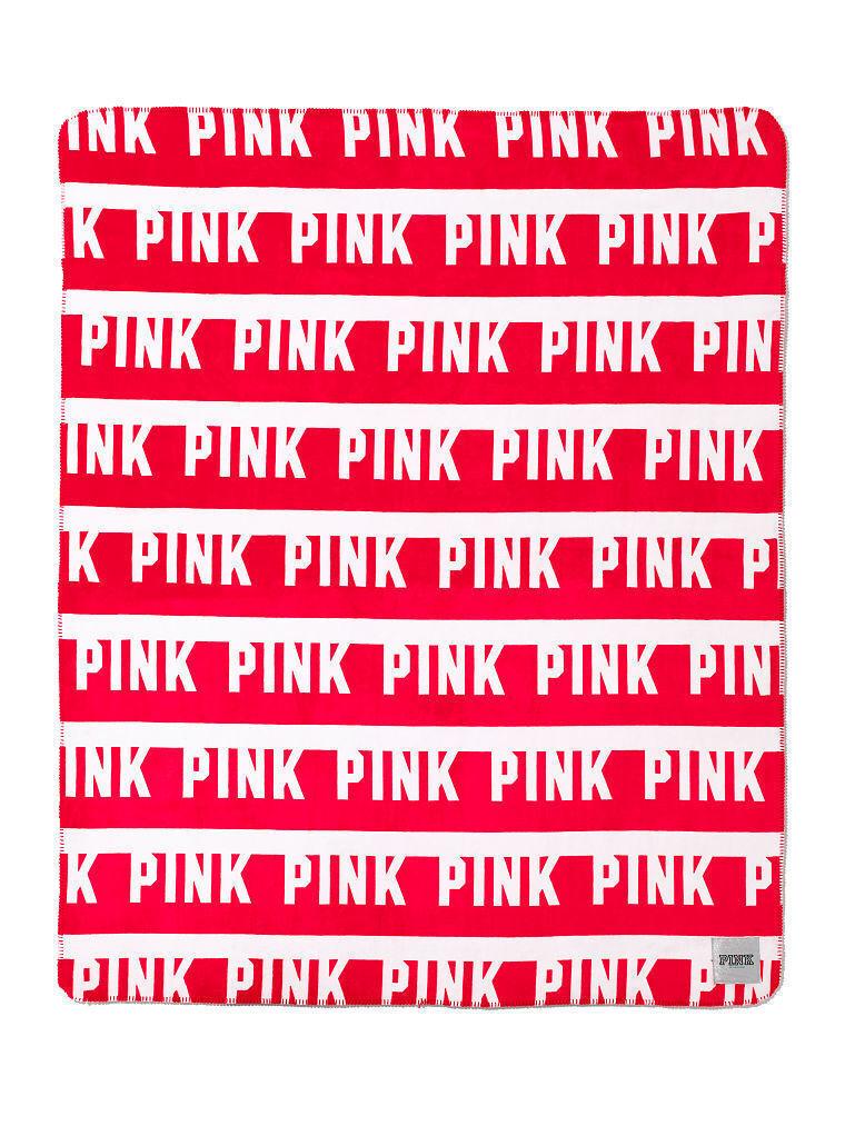 Victoria's Secret Pink Red Dorm Logo Sherpa Faux Fur Large Plush Blanket Throw
