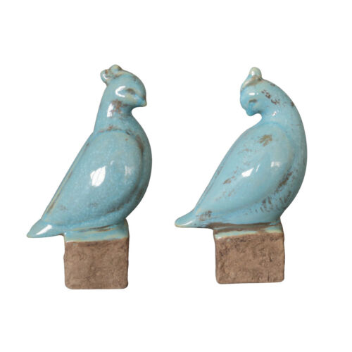 Shabby Chic Set of 2 Blue Bird Terracotta Ornaments Suitable for Display