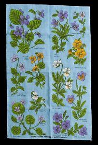 Vintage Irish Linen Tea Towel Violets & Pansies By Ulster 5215 Blue Floral