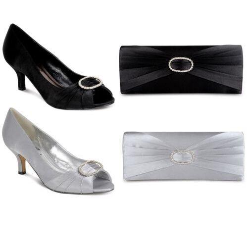 Damen Flacher Absatz Strass Rüschen-effekt Damen Smart Schuhe Clutch Tasche Set