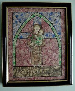 Tableau-Saint-Antoine-Jesus-timbre-Maroc-religion-christianisme-catholic-signe