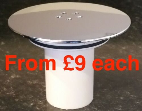 Replacement Chrome Cap /& Tube 115mm dia Shower drain waste High-Fast Flow