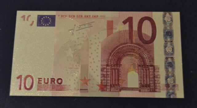 10 Euro € Banknote Geldschein mit Zertifikat Goldschein neu Farbapplikation