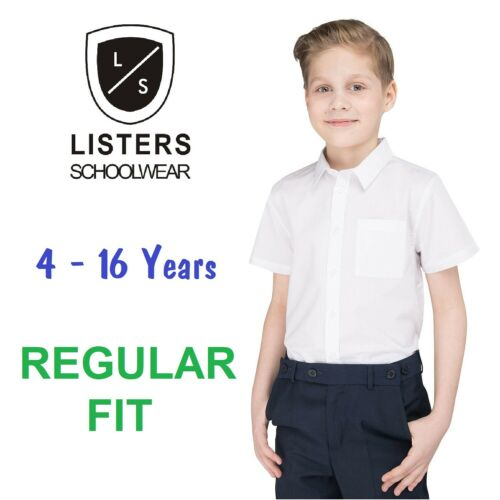 "Boys School Shirt White Short Long Sleeve Regular Fit Ages 2-16 11-16.5/"" Collar"