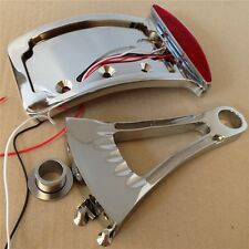 """Chrome Curve Side Mount License Plate Bracket w/ Led Tail Light 7/8"""" or 1"""" Axle"""