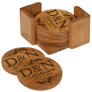 Drink Coasters Round Bamboo Coaster Set Of 6 Personalized Coasters With Holder Ebay