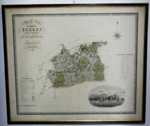 Antique-Map-of-the-County-of-Surrey-1822-amp-1823-GREENWOOD-amp-Co-1829-PL887