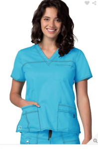 9c9bccd66a8 Adar Medical Scrub Set Pop Stretch Turquoise Pant 3100/V Neck Top ...