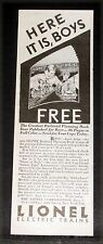 1929 OLD MAGAZINE PRINT AD, LIONEL ELECTRIC TRAINS, HERE IT IS BOYS DON'T DELAY!