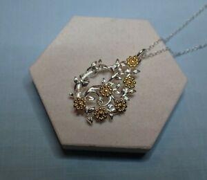 Collar-Colgante-de-lagrima-grande-de-Plata-Esterlina-oro-Vermeil-Flores-vendedor-del-Reino-Unido
