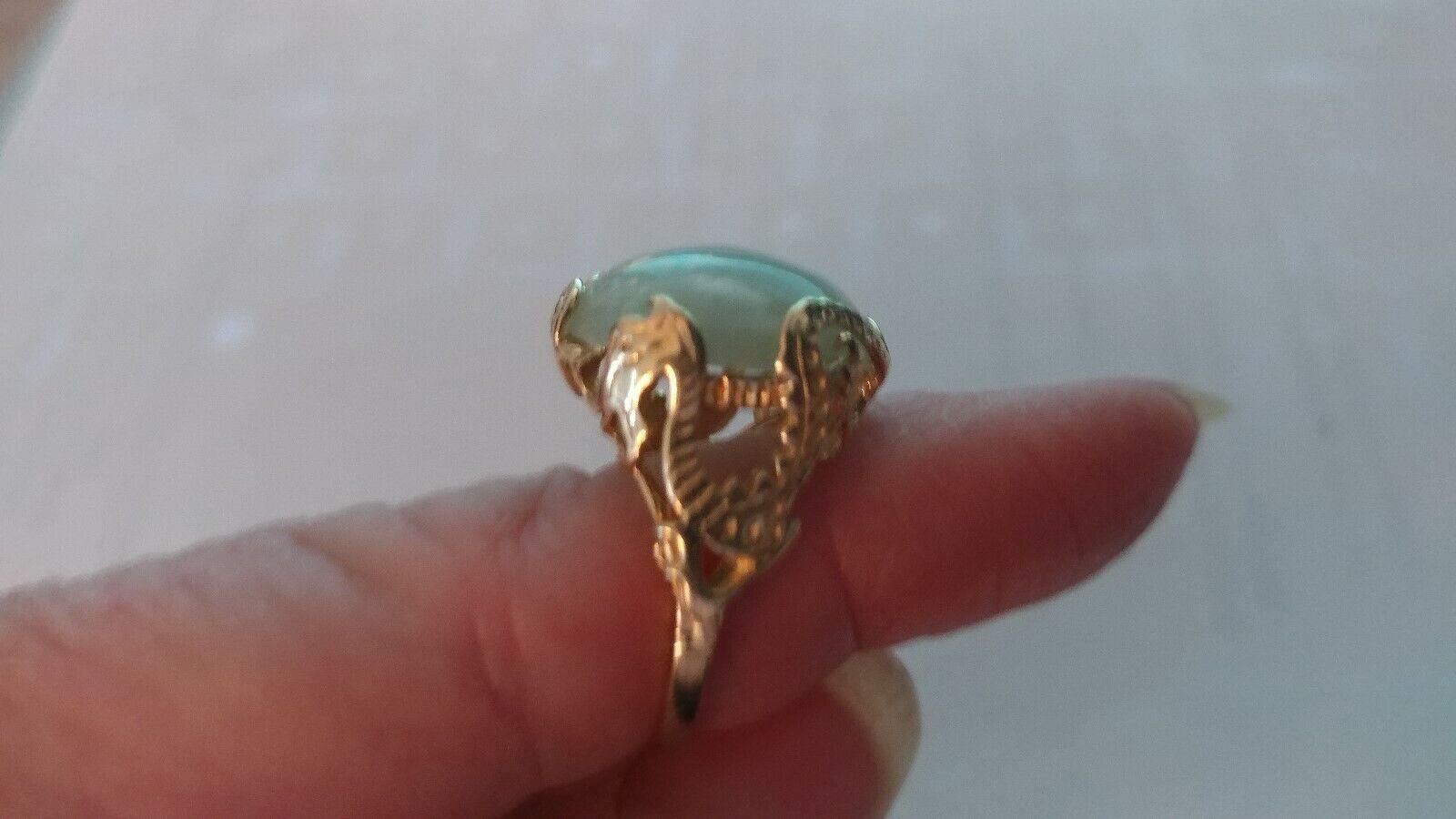 14 Kt Yellow gold Jade Cabochon Ring - Size 6-3 4 - Beautiful Setting