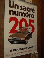 GRANDE Affiche Ancienne PEUGEOT 205  GT    Un Sacré Numero    1983 Poster  Car
