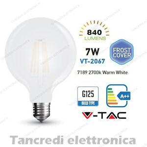 Lampadina-led-V-TAC-7W-E27-bianco-caldo-2700K-VT-2067-G125-bianca-filamento-bulb