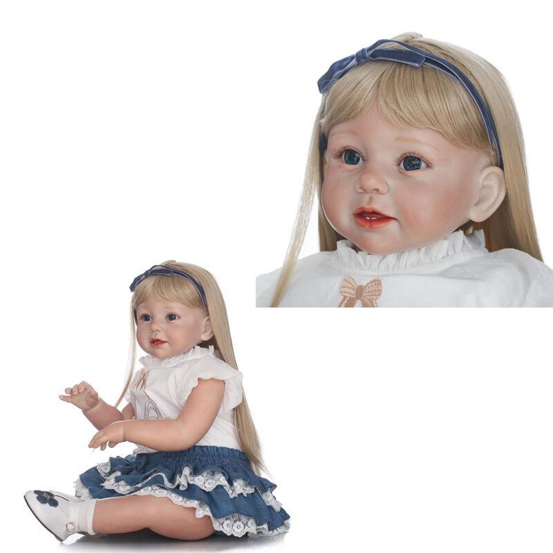 Nuevo 29  muñecas reborn niño bebé niña de silicona Cabello Rubio desgaste Juguetes Navidad Regalo