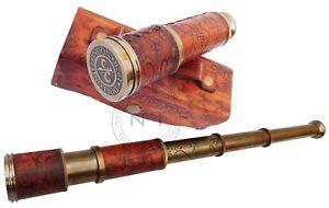 Antique Telescope Vintage Leather Spyglass Lens Cap Handmade gifts Marine Brass