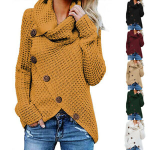 Winter-Women-Cardigan-Coat-Knitting-Clothes-Fashion-Jacket-Loose-High-Collar