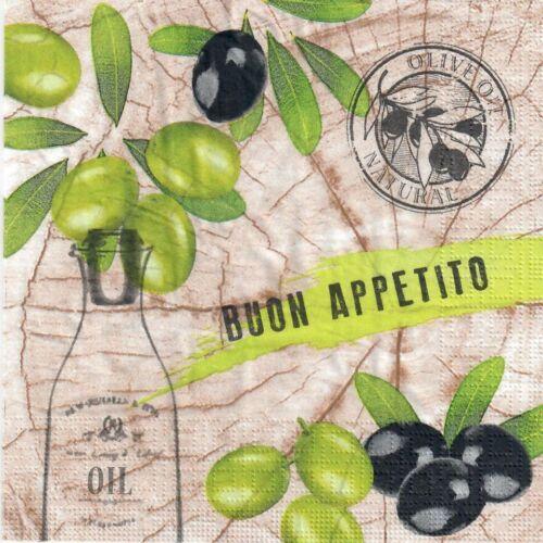 olives oil 4 Single paper decoupage napkins Olives buon appetito design -355