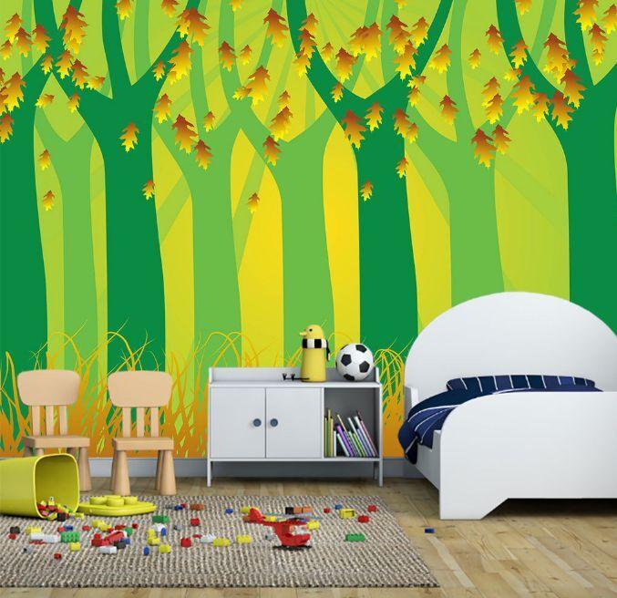 3D Schöne Bäume und Laub 55 Fototapeten Wandbild Fototapete BildTapete Familie