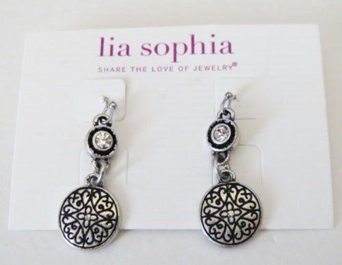 8dw Lia Sophia Jewelry Sbook Earrings In Antiqued Silver Plated Ebay
