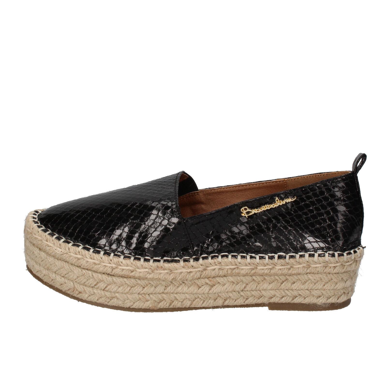 scarpe mocassini donna BRACCIALINI 40 mocassini scarpe espadrillas nero pelle AE549-F 3650a9