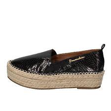 scarpe donna BRACCIALINI 36 mocassini espadrillas nero pelle AE549-B